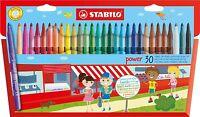Stabilo Power 30 Felt Tip Pens Fibre Tip Pens in Wallet 30 Assorted Colours