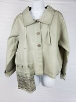 NWT $172 Luukaa Jacket Sz 5 100% Cotton Olive Green Pocket Asymmetrical Bomber