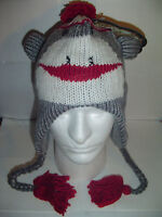 NEW SOCK MONKEY Gray WINTER FLEECE LINED KNIT HAT 1 sz Beanie Cap YOUTH TO ADULT