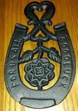 For Us All Good Luckl Horseshoe Sad Iron Rest/Trivet/Door Stop