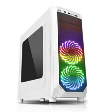 CiT Prism White RGB GAMING PC Case With 2 x RGB Front Fans USB 3.0