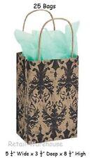 Paper Bags Shopping 25 Distressed Damask 5 X 3 X 8 Black Tan Retail