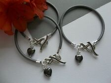 3 GRAY BRAIN CANCER AWARENESS BRACELETS WITH RIBBON TOGGLE CLASP