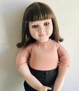"My Twinn Doll Brunette Hair Pink Eyes 2003 22"" Bangs BEAUTIFUL"