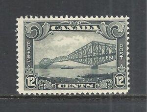 CANADA SCOTT 156 MH FINE - 1929 12c GRAY QUEBEC BRIDGE ISSUE   CV $45