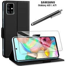 COVER per Samsung Galaxy A51 / A71 CUSTODIA PORTAFOGLIO NERO VETRO TEMPERATO 9H