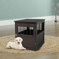 Dog Pet Crate Indoor Wooden End Table Nightstand Living Room Furniture
