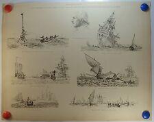 Scènes Maritimes vaisseau échoué embarcation chavirée planche 1908/SMD4
