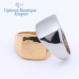 Blank Engravable Pinky Signet Men's Stainless Steel Rectangle Ring Size:8-13#H