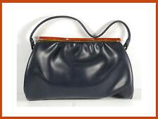 Vintage 1960's Women's Black Purse Leather And Plastic Clasp.