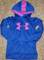 Under Armour Girls Cold Gear Loose Fit Hoodie Youth XS Blue Purple
