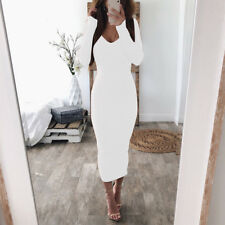 Women Autumn Winter Ribbed Dress V Neck Bodycon Long Pencil Party Dress Clubwear