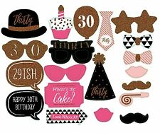 30th Birthday Party Props Selfie Photo Booth Favour DIY Kit Pink Gold 20 Pcs