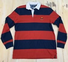 CHAPS - Navy Blue & Red Striped Rugby Polo Long Sleeve Shirt, Mens MEDIUM