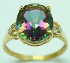 GORGEOUS 10KT YELLOW GOLD MYSTIC TOPAZ & DIAMOND RING  SIZE 7   R707