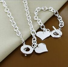 Womens 925 Sterling Silver Heart Toggle Clasp Necklace + Bracelet Jewelry Set