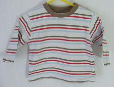 'Cherokee' White Multi Striped Longsleeve T-Shirt Top - Boys Size 3-6 Months
