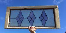 Vtg Diamond Art Glass Transom Window Sash 14x32 Shabby Cottage Chic Old 162-20E