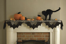 Halloween Bats Mantle Scarf with Spider Webs and Bats, Heritage Lace, 20x80 Inch
