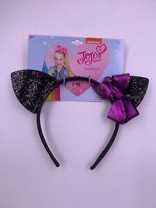 Jojo Siwa Girls Glitter Black Cat Bat Ear Purple Mini Bow Halloween Headband NWT