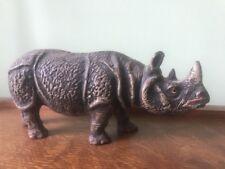 "Antique Carved Painted Wood  Noahs Ark Wood? Rhino Rhinoceros Made In Germany 7"""