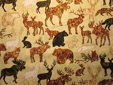 MOOSE DEER BEAR WOLF SPIRIT ANIMALS BROWN TAN COTTON FABRIC FQ