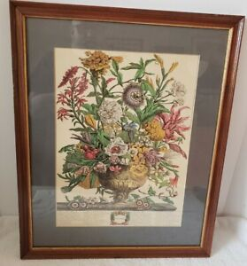 Antique Framed September Flowers Victorian Botanical Hand Colored Litho w/Index