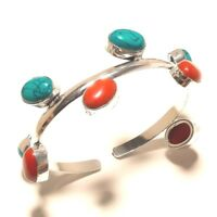 Turquoise Coral Cuff Bangel Silver Plated Gemstone Handmade Fashion jewelry