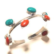 Turquoise Coral Cuff Bangel Silver Plated Gemstone Fashion jewelry