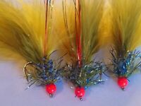 New X 3 Winter UV Damsel Size 10 Blob Trout Flies, Lures, Flies.