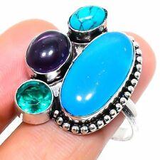 Aqua Chalcedony, Amethyst Gemstone Handmade Gift Jewelry Ring Size 8.5 z869
