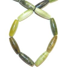 NG2634f Green New Jade 29mm - 31mm Tapered Oval Serpentine Gemstone 15""
