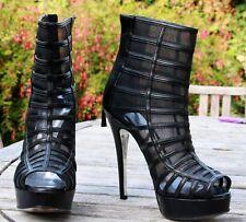 Bottines cuir noir et trasparent open toe Sebastian taille 38 talons 13 cm