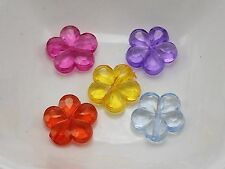 "100 Mixed Colour Transparent Acrylic Faceted Flower Beads Charms 14mm(0.55"")"