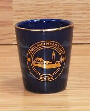 Portland Head Light Maine Ceramic Blue & Gold Toned Collectible Shot Glass Only