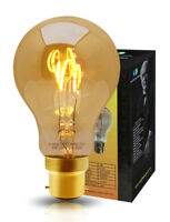 Vintage LED 2W Edison Style A60 TEARDROP SPIRAL Filament Light Bulb B22 or E27