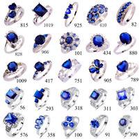 Wedding Blue Sapphire White Topaz Gemstone Jewelry Silver Ring Size 6-13 Gifts