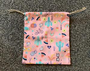 Handmade Summer Pattern Drawstring Gift Bag Storage Bag Flamingo Cactus Melon