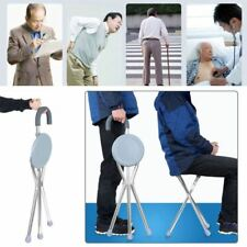 Portable Stainless steel Walking Stick With Seat Folding Tripod Cane Hiking