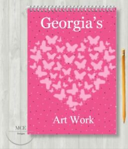 Pink Butterflies Personalised A4 Sketch pad/ Art book/ Drawing Book