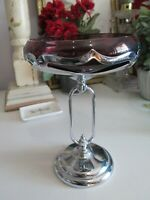 Farber Bros Cambridge Art Deco Amethyst Purple Glass Insert Chrome Compote