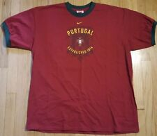 Nike PORTUGAL national soccer ringer tshirt XL shirt maroon green football FBF