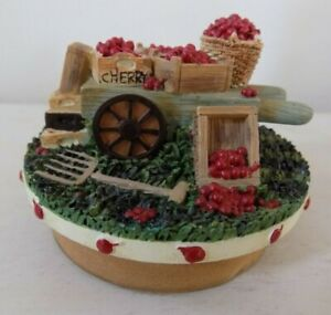 Our America Candle Topper Cherry Baskets Boxes Wheelbarrow AS IS