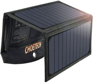 CHOETECH Solar Panel 19W Charger Dual USB Port Foldable Solar Panel Charge