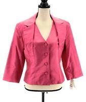 Bigio Collection Womens Silk Blazer Suit Jacket Pink 12 V Neck 3/4 Sleeves