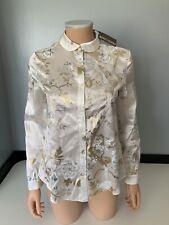 Roberto cavalli New 100% Silk Blouse Top long Sleeve Size Xs Uk 6 Bnwts