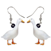 Acrylic White Duck Earrings Dangle Farm Animal Jewelry For Women Kids Charm Gift