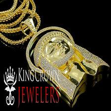 YELLOW GOLD FINISH LAB DIAMOND JESUS FACE PENDANT CHARM FRANCO CHAIN NECKLACE