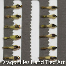 12 Gold Head & Standard OLIVE Hares Ear Nymphs Trout Fishing Flies Dragonflies