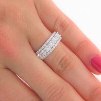 Round Cut Diamond Wedding Anniversary Band For Women's 14k White Gold Finish